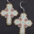 Cross Beaded Earrings Christmas Easter purple gold green white