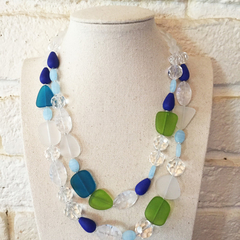 Ocean Views - handmade double strand beaded necklace