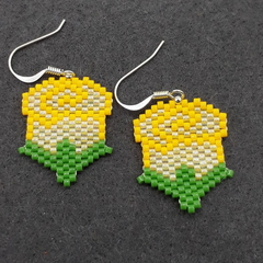 Yellow Roses Beaded Earrings Flower Spring Garden Nature