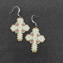 Cross Beaded Earrings Christmas Easter purple gold green white