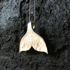 Whale tail pendant crafted from a vintage spoon upon a sterling chain
