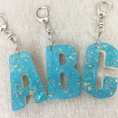 Initial Personalised A-Z hand cast eco resin key ring, keyring