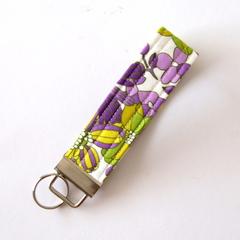 Wrist Key Fob / Keyring - Purple and Green Florals