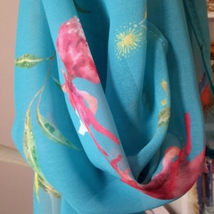 Turquoise Parrot and Pink Waratah Scarf