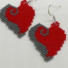 Valentines Heart Beaded Earrings Red Grey
