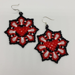 Heart Flower Huichol Beaded Earrings Valentines Day