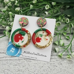 Christmas Sparkle - Button - Glitter Stud Dangle earrings