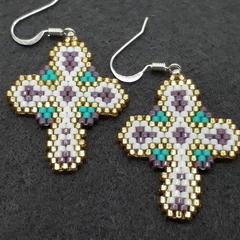 Cross Beaded Earrings Christmas Easter purple gold Turquoise white