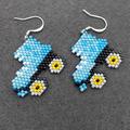 Roller Skates Beaded Earrings Retro Blue