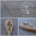 Wood Burnt Cactus Wooden Spoon