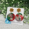Christmas Star Sparkle - Button - Glitter Stud Dangle earrings