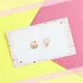 Cup Cake x Ice Cream Stud Earrings - Hand-painted Kawaii Studs