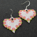 Heart Beaded Earrings with Flowers Pink Green White Yellow Nature Garden