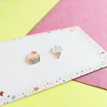 Cup Cake x Ice Cream Stud Earrings - Hand-painted Kawaii Studs