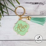 Large Mint & Gold Enamel Key Ring