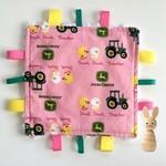 Pink John Deere taggie comforter