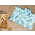 Nappy Wallet, blue with modern jungle animal print