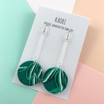Polymer clay earrings, statement earrings in tropical green floral