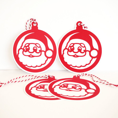 Christmas Gift Tags set of 4_Red Santa Baubles