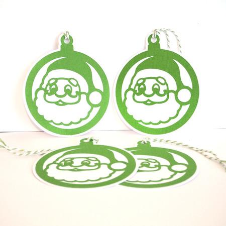 Christmas Gift Tags set of 4_Green Santa Baubles