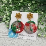 Christmas Star Sparkle - Button - Glitter Stud Dangle earrings