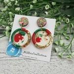 Christmas Sparkle - Button - Glitter Stud Dangle earrings