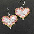 Heart Beaded Earrings with Flowers Nature Garden Valentines Day