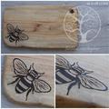 Wood Burnt Bee Camphor Laurel Cutting Board