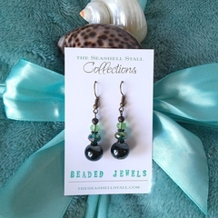 "Green & Black Glass Bead Earrings - ""Beaded Jewels"" Collection"