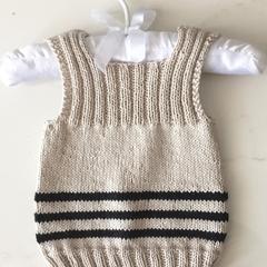 0-3 mths Baby Vest, FREE POST ,  Cotton, Beige / Black, Hand Knit