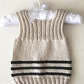 0-3 mths Baby Vest, FREE POST ,  Cotton, Beige / Black, Hand Knit