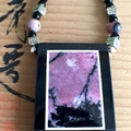 Natural RHODONITE Intarsia Frame and Beads, Pink & Black ZEN Necklace.