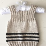 0-3 mths Baby, Singlet/Vest, Cotton, Beige / Black, Hand Knit