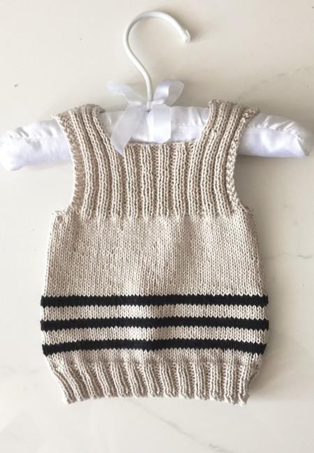 0-3 mths Baby, Vest, Cotton, Beige / Black, Hand Knit
