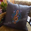 """""""Dark Brown Silk with Orange Treble Clef"""" Cushion  (cover only)"""