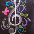"""""""Black Silk with White Treble Clef"""" Cushion  (cover only)"""
