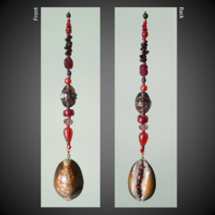 Red/Purple & Cowrie Shell Lucky Earth Charm Sun Catcher with Garnet chip beads