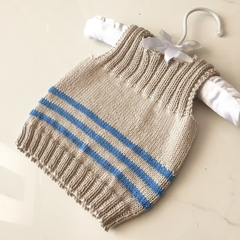 0-3 mths Baby Vest, FREE POST , Cotton, Beige / Blue, Hand Knit