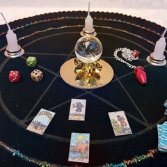 Miniature Fortune Teller Kit, crystal ball, tarot cards, pendulum, dice