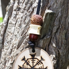 Handcrafted wooden viking symbol, Helm of Awe for strength and success