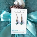 """Blue, Green & Gold Crystal Bead Earrings - """"Beaded Jewels"""" Collection"""