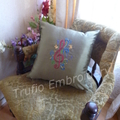 """""""Olive Green Silk with Carmine Red Treble Clef"""" Cushion  (cover only)"""