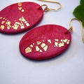 Polymer Clay Earrings Handcrafted Oval Pink Dangles, Magenta and Copper