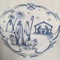 Ladies Boat Neck Dolman Sleeve T-ShirtDelft Blue Nativity Shepherds