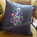 """Black Silk with White Treble Clef"" Cushion  (cover only)"