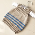 0-3 mths Baby, Singlet/Vest, Cotton, Beige / Blue, Hand Knit