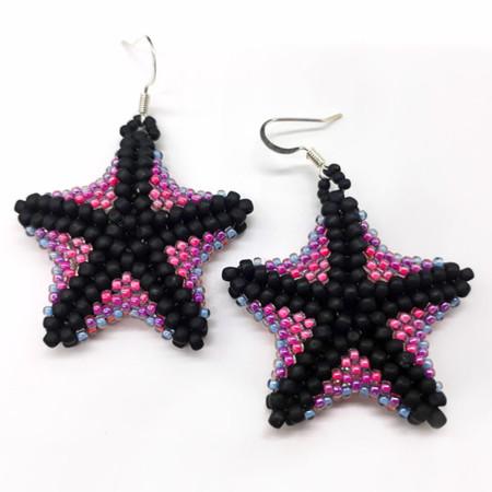 Beaded Rainbow Starfish Earrings Beach Sea Ocean Summer Colourful