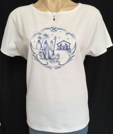 Ladies Boat Neck Dolman Sleeve T-Shirt Delft Blue Nativity Shepherds