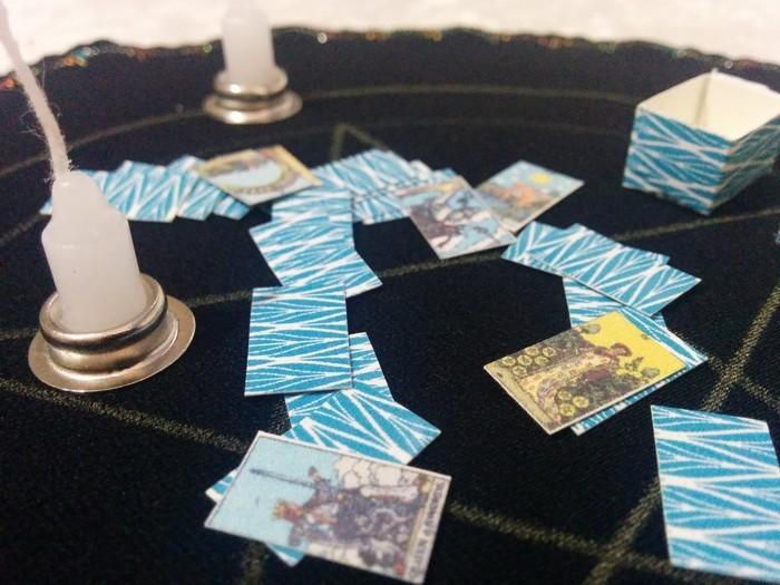 Miniature Fortune Teller Kit, crystal ball, tarot cards
