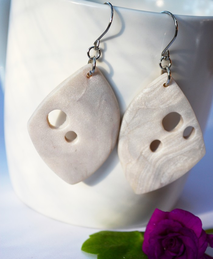 b3fbca3ec Polymer Clay Earrings Handcrafted Beige Butterfly Wing Dangles | BlackWood  Lily | madeit.com.au